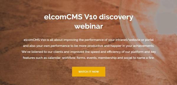 elcomCMS V10 Discovery Webinar